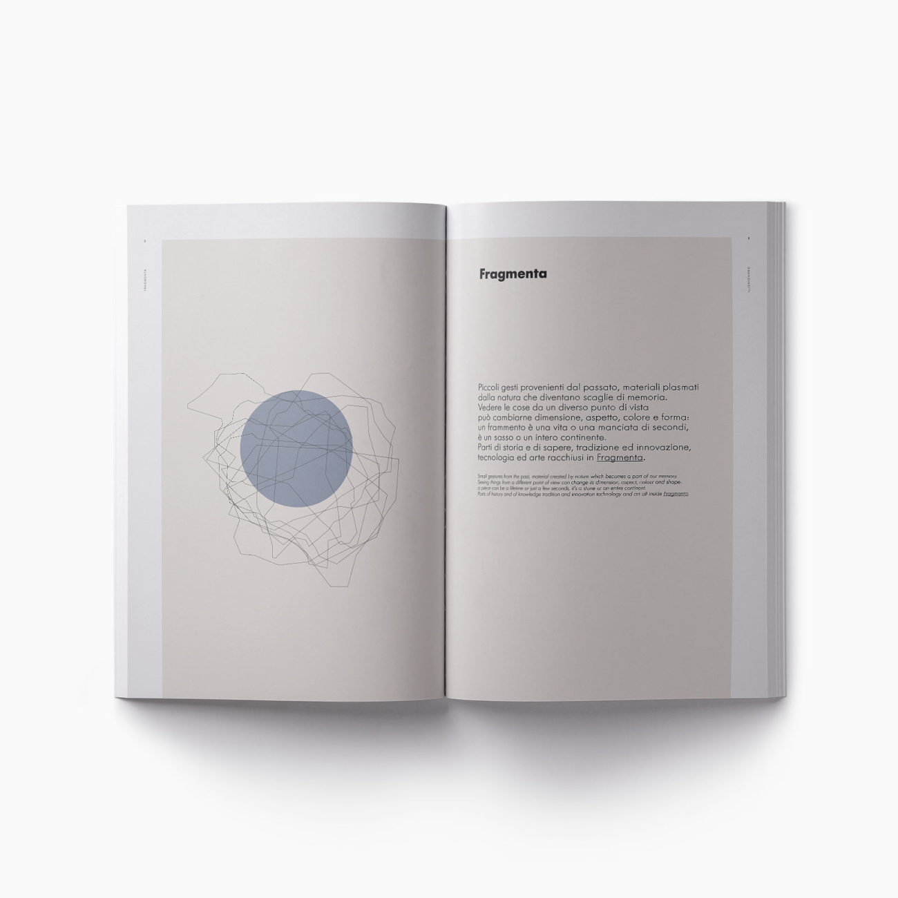 Progetto grafico catalogo Fragmenta