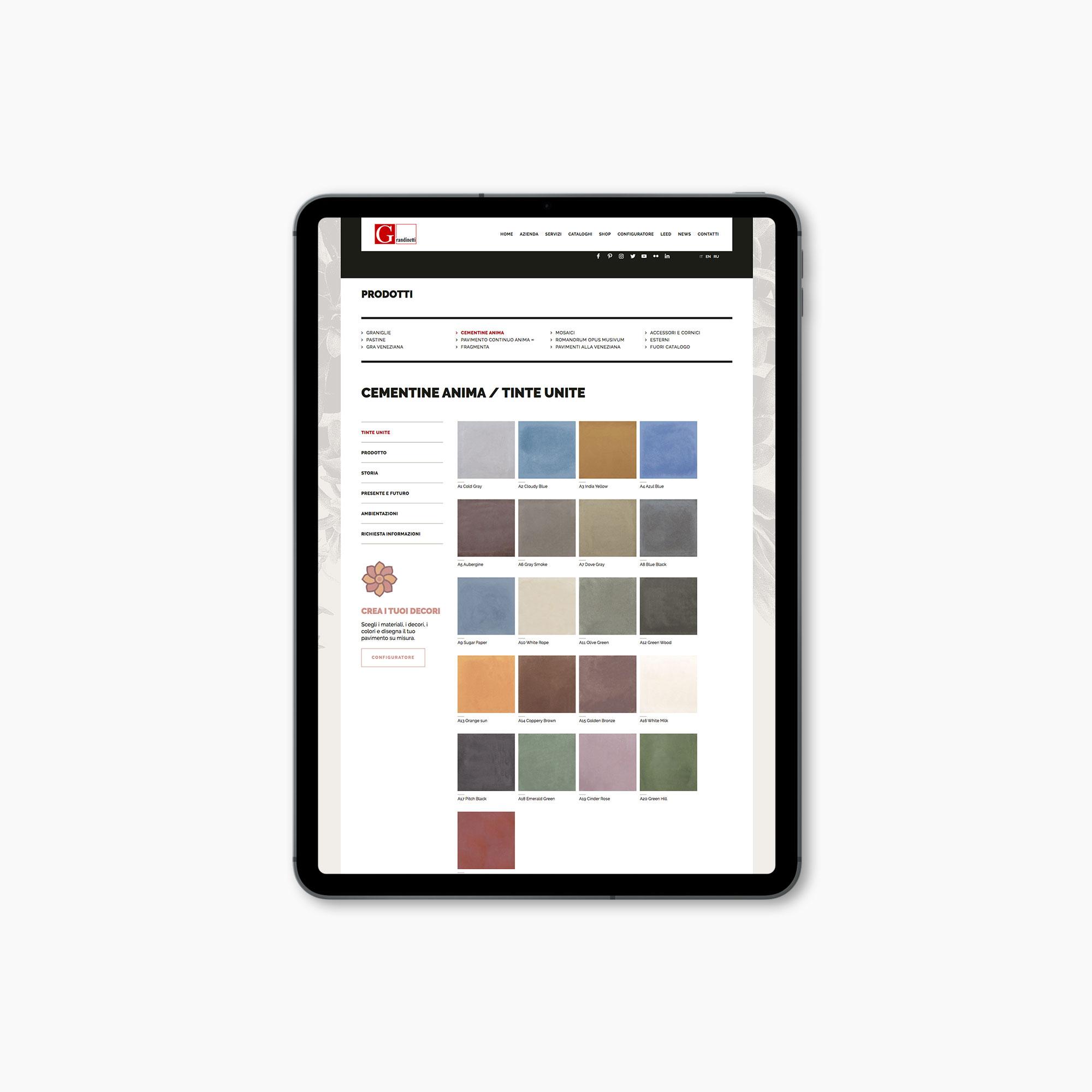 Grandinetti progetto grafico sito web