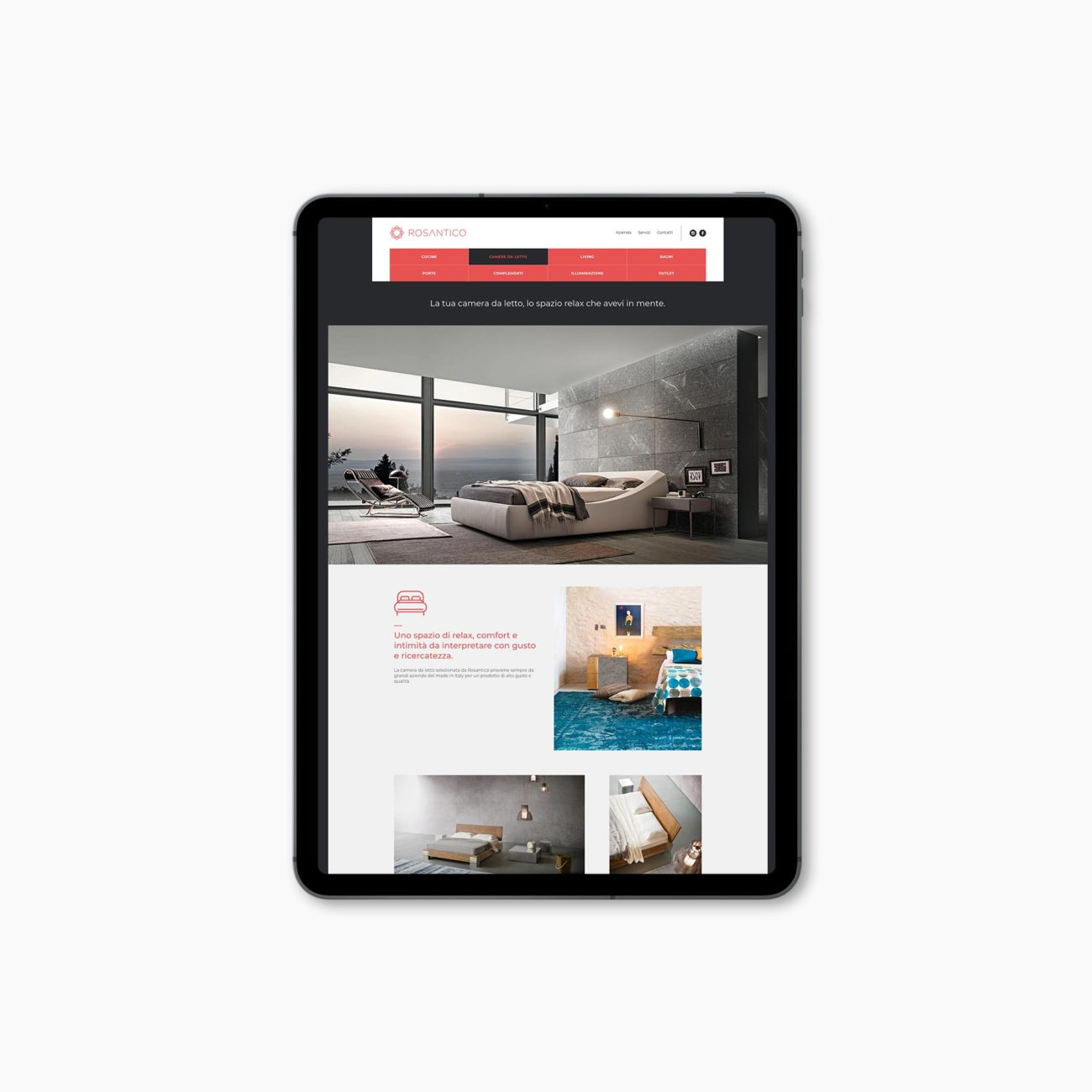 Rosantico progetto grafico sito web